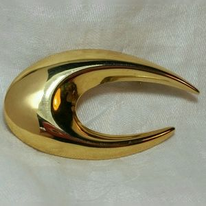 Napier BROOCH PIN Gold Tone Claw Hook Abstract